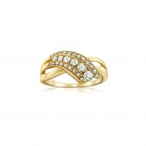 14k Two-Tone Diamond Journey Ring