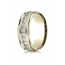 14k .96ct mens yellow gold  channel set diamond ring