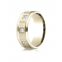 14k .25 ct 3 diamond flat plane mens yellow  gold ring