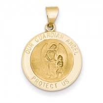 Yellow gold Guardian angel medal