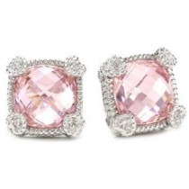 Pink quartz stud earrings