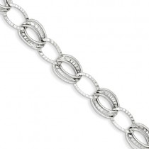 14k White Gold Polished And Textured Hollow W/Ext. Bracelet