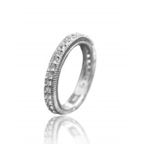 White sapphire pave ring
