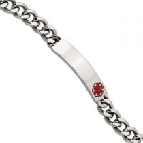 Men's Stainless steel medic alert bracelet