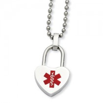 Stainless steel medical alert necklace