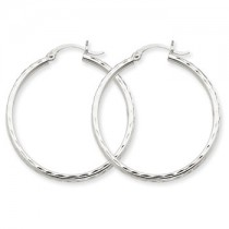 White gold diamond cut hoops