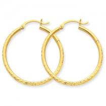 Yellow gold diamond cut hoops