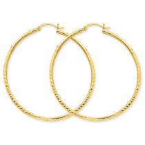 Yellow gold diamond cut hoops