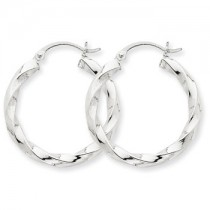 White gold spiral hoops