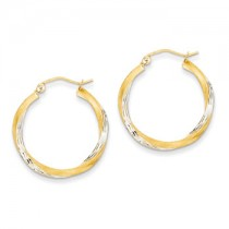 Two tone diamond cut hoops