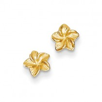 14k Yellow Gold Plumeria Flower Post Earrings