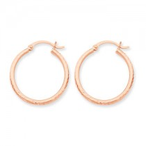 Rose gold diamond cut hoops