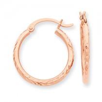 Rose gold diamond cut hoops