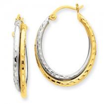 Two tone diamond cut hoops