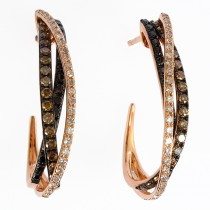 14k Rose Gold prism espresso crossover earrings