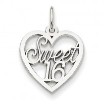 14k White Gold Sweet 16 Heart Charm