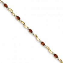 14k Completed Fancy Diamond/Garnet Bracelet