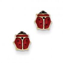 14k Enameled Ladybug Post Earrings