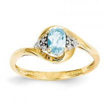 14k Yellow Gold Blue Topaz Diamond Ring