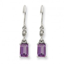 14k White Gold Amethyst And Diamond Dangle Earrings