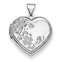 14k White Gold Polished Heart-Shaped Floral Locket