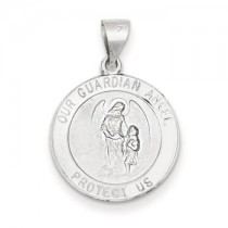 White gold Guardian angel medal