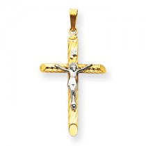 Two tone diamond crucifix