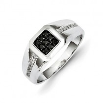 14K White Gold White And Black Diamond Square Men's Ring