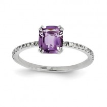 14k White Gold Diamond And Amethyst Square Ring
