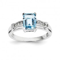 14k White Gold Blue Topaz And White Topaz Square Ring