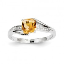 14k White Gold Diamond And Citrine Square Ring