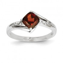 14k White Gold Diamond And Garnet Square Ring