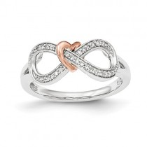 14k Two-Tone Diamond Infinity With Heart Ring