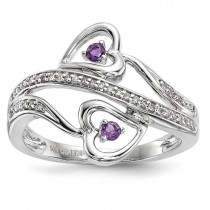 14k White Gold Amethyst Hearts Ring