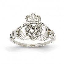 14k White Gold Diamond Claddagh ring