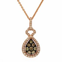 14k espresso collection rose gold diamond pendant