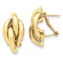 Yellow gold omega back earrings